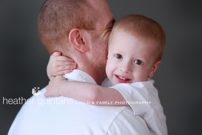Son and Dad photographed at Heather Quintans Studio with natural light